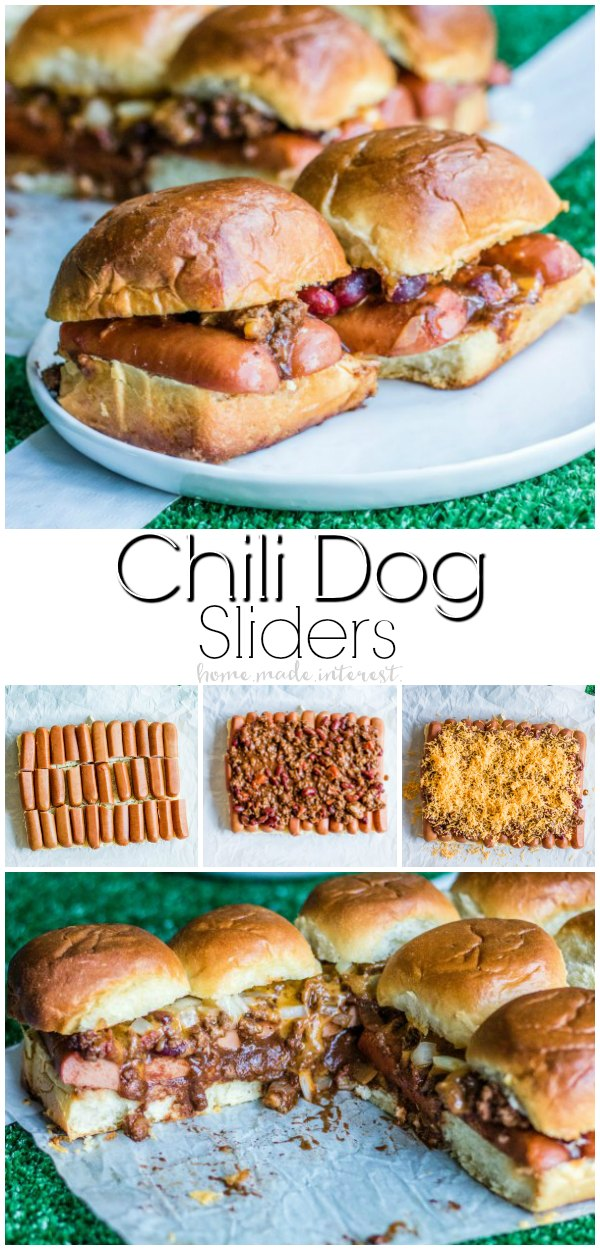 Chili Dog Sliders | These easy Chili Dog Sliders are a football party food idea that is going to be a hit on game day! Chili dogs on soft slider rolls are the perfect appetizer recipe for feeding a crowd at your football party. AD #PartyonMom #sliders #partyfood #appetizer