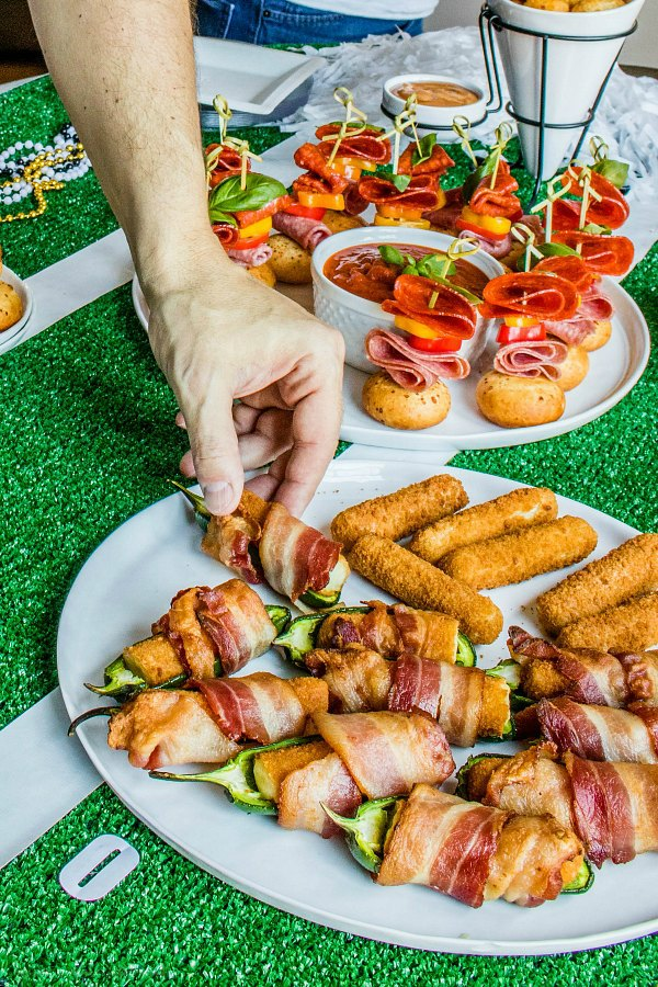 bacon wrapped poppers for super bowl party