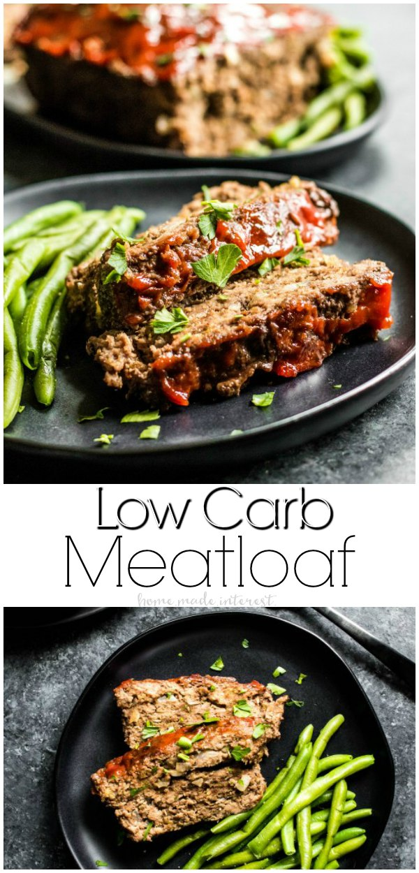 Low Carb Meatloaf | This low carb comfort food is just as good as the original! This easy recipe for a low carb meatloaf has a soft, moist texture, with lots of flavor. Top it with a low carb sauce and serve it with green beans for a low carb dinner recipe that the whole family will love! #lowcarb #keto #lowcarbrecipe #healthyeating