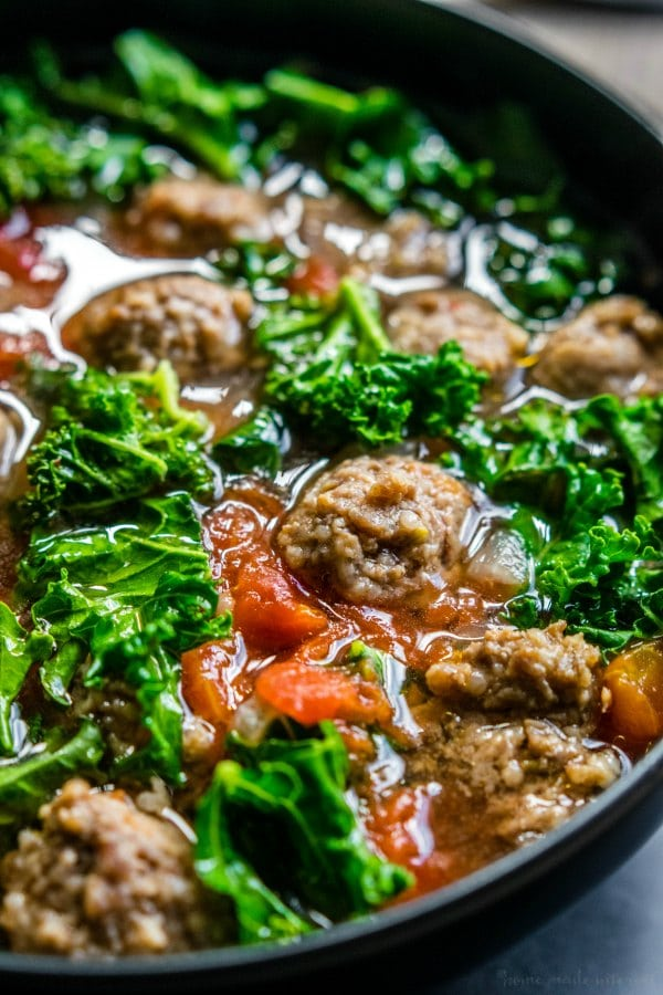 low carb soup with sausage and kale with tomatoes