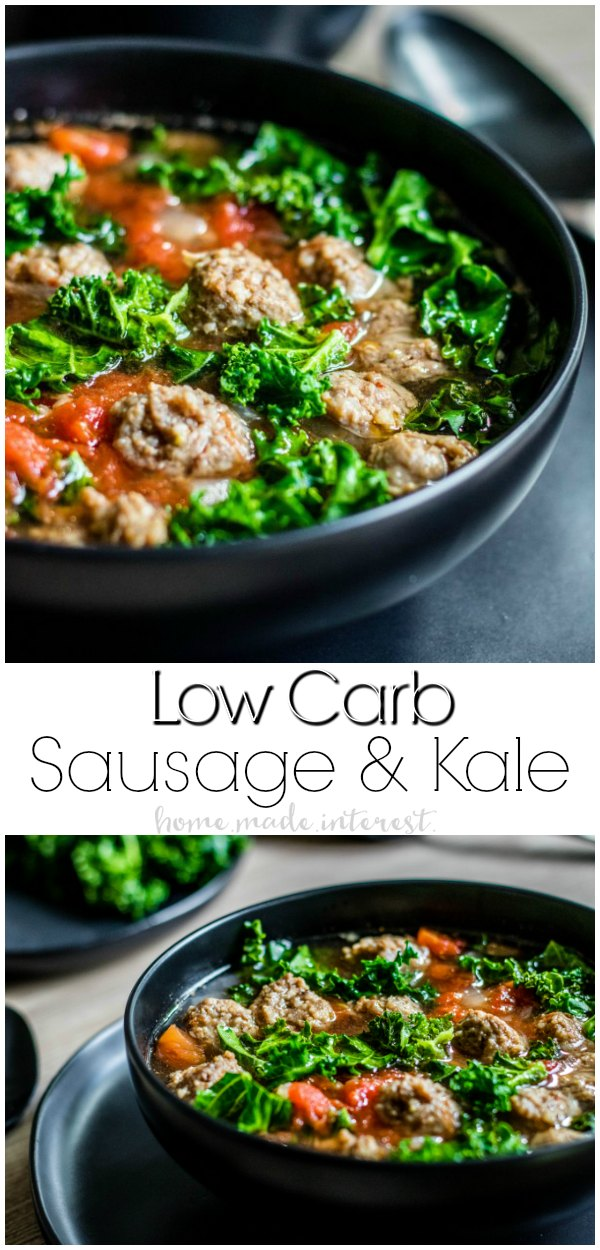 Low Carb Instant Pot Sausage and Kale Soup | Low Carb Instant Pot Sausage and Kale Soup is an easy 5 ingredient low carb Instant Pot soup recipe that can be made in less than 30 minutes! This is a keto dinner recipe that makes a great meal all year long. If you're looking for low carb recipes you have to try this. #lowcarb #keto #lowcarbrecipes #instantpot #soup