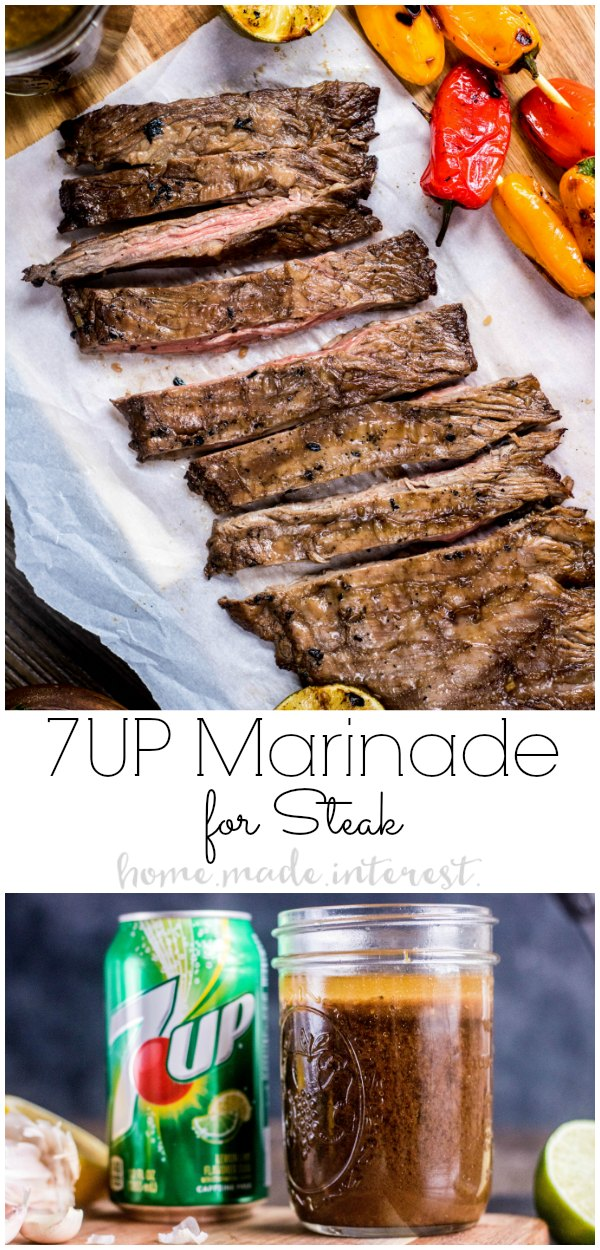 7UP Marinade is an easy way to add flavor to your skirt steak. If you're looking for an easy steak marinade try marinating your steak in 7UP Marinade and then toss it on the grill for perfectly tender grill skirt steak every time! This is a great grilled steak recipe for summer grilling. AD