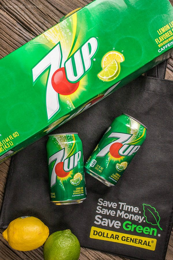 7UP 12 pack and Dollar General with a lemon and a lime