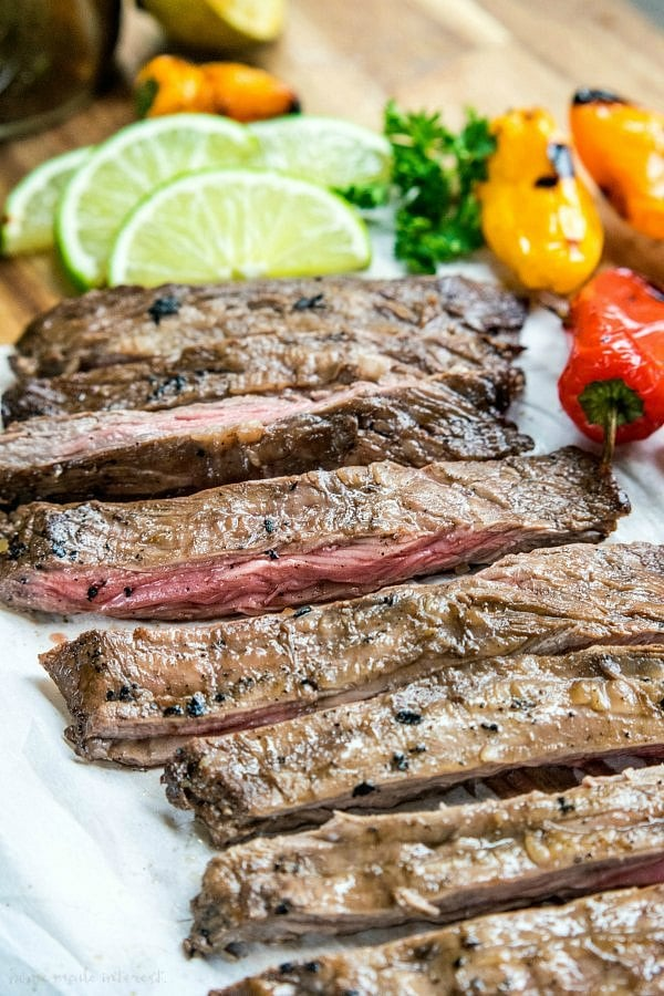 grilled skirt steak sliced