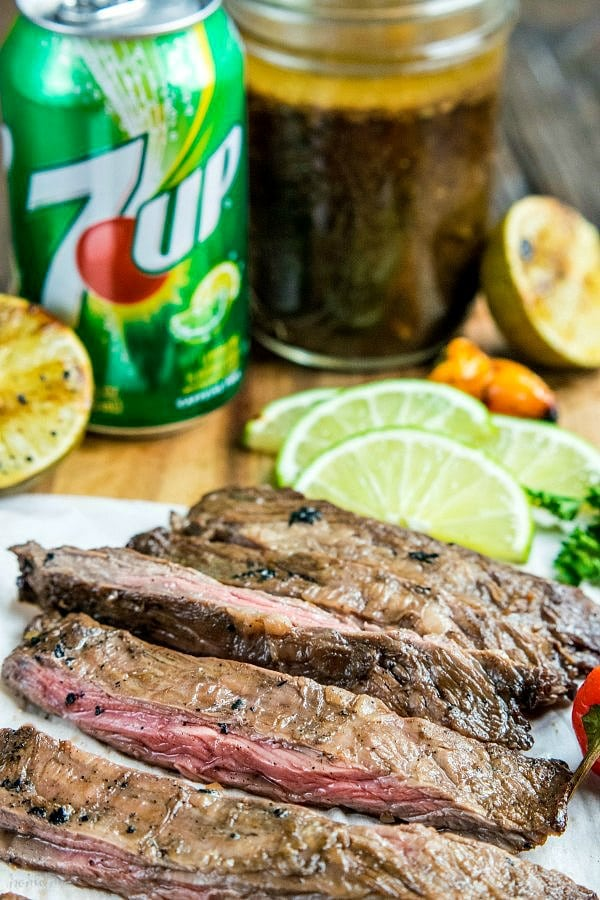 grilled skirt steak and 7UP marinade