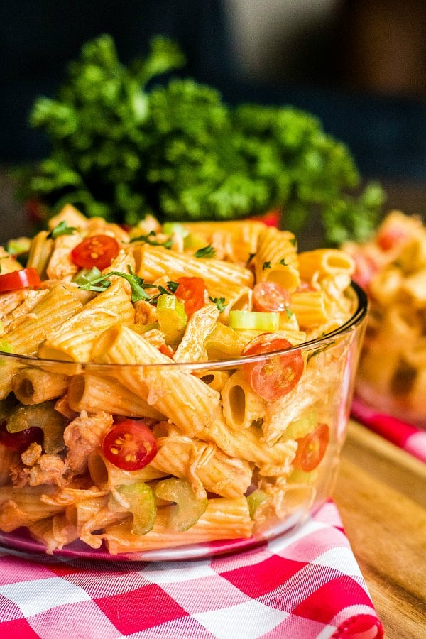 buffalo chicken pasta salad in a glass bowl