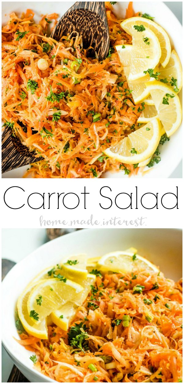 This beautiful Carrot Salad is vegan side dish filled with bright, fresh spring flavors. Shredded carrots are tossed with a lemon dijon vinaigrette to make the perfect spring side dish! Make this easy carrot salad as an Easter side dish or for a light, healthy dinner recipe.