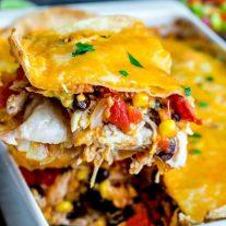scoop of chicken tortilla casserole