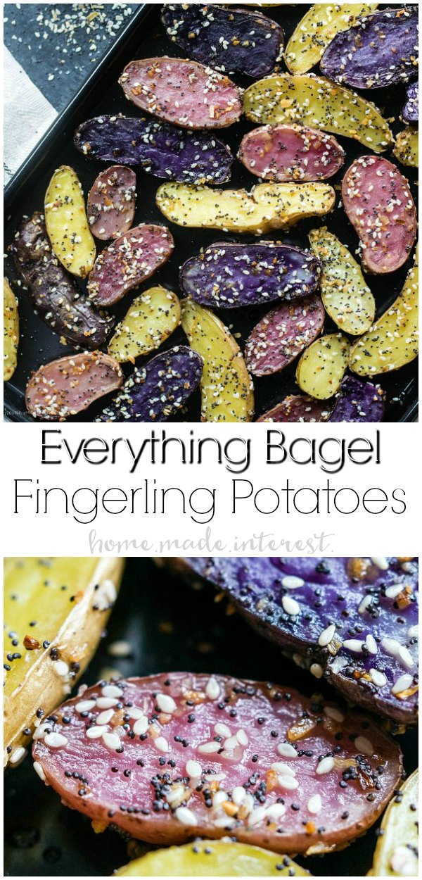 Everything Bagel Roasted Fingerling Potatoes is an easy potato side dish made with oven roasted fingerling potatoes. It makes a great side dish for busy weeknights and a delicious recipe for Easter dinner. The bold flavors of everything bagel seasoning goes perfectly with the tender roasted potatoes!#potatoes #sidedish #dinner