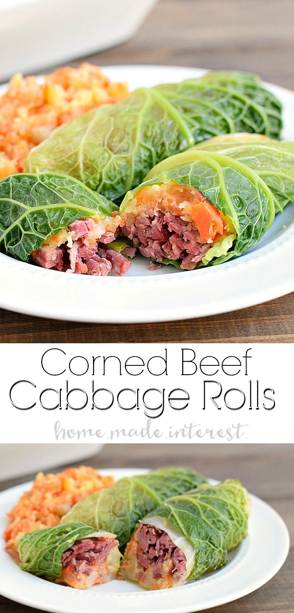 Corned Beef Cabbage Rolls | You don't get any more Irish than a corned beef and cabbage recipe! This St. Patrick's day recipe for corned beef cabbage rolls stuffed with parsnip and carrot mash is easy to make and delicious! Make this for your St. Patrick's day dinner!
