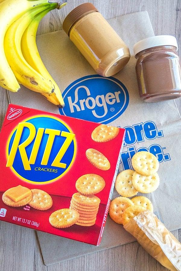 Ritz box, bananas, hazelnut spread and Kroger bag