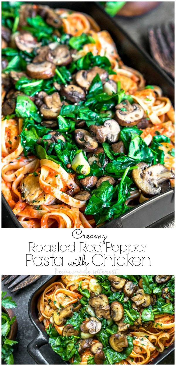 Roasted Red Pepper Pasta with Chicken is a simple roasted red pepper sauce mixed with Arla cream cheese for a rich creamy flavor. This easy weeknight dinner idea is a roasted red pepper pasta you won't want to miss! The smoky flavor of the homemade roasted red pepper sauce will keep you coming back for more. #AD ##ArlaCreamCheese #pasta #dinnerrecipes #dinnerideas #chicken