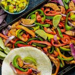 sheet pan chicken fajitas with tortillas