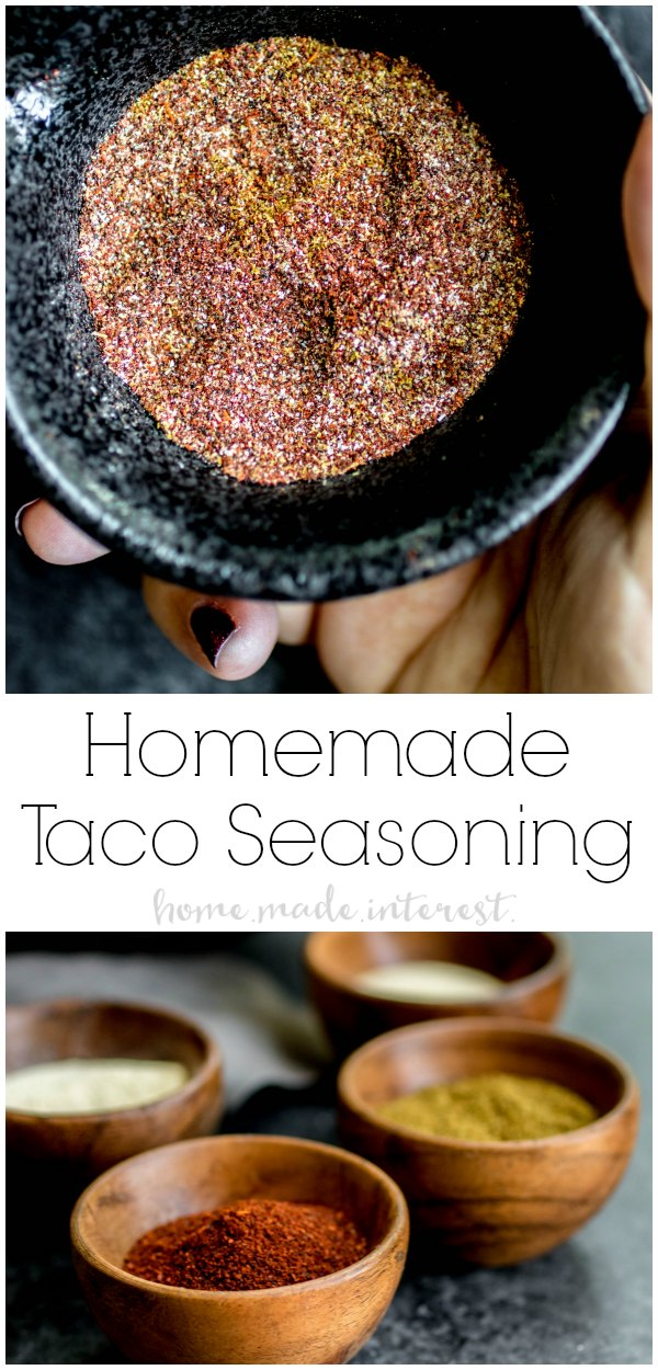 This easy Homemade Taco Seasoning recipe is a mild taco seasoning for ground beef or chicken. You can make this DIY taco seasoning in bulk and use it in your Tex-Mex dishes. Homemade Taco Seasoning is even low carb! #taco #spices #mexicanfood #homemadeinterest