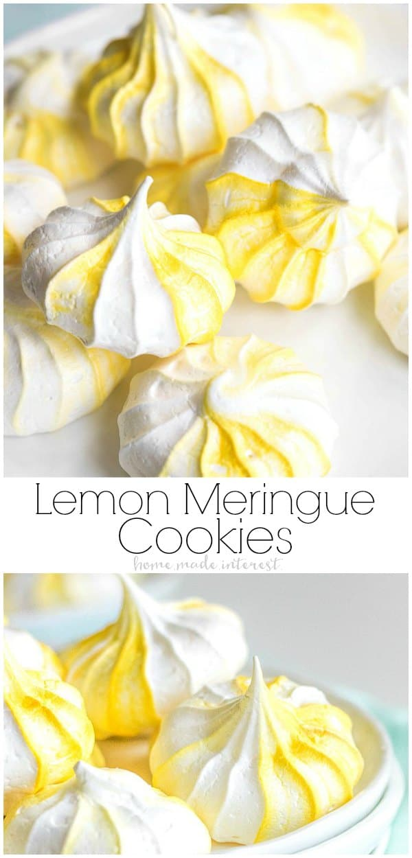 These easy Lemon Meringue Cookies, or egg white cookies, are made from egg whites whisked into a stiff meringue and baked until they are slightly crunchy on the outside and soft in the middle. This easy meringue cookies recipe can be adapted to any flavor you like. The lemon meringue cookies make a great Easter dessert recipe or Mother's Day brunch recipe. #meringue #cookie #lemon #easter #mothersday #dessert #homemadeinterest