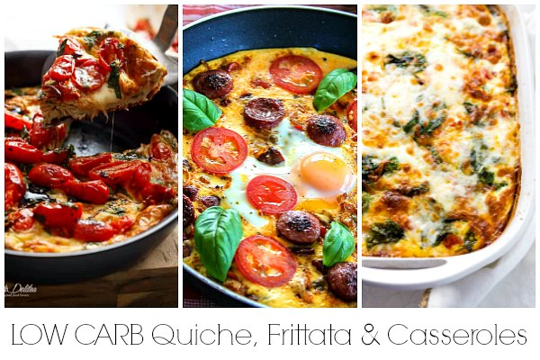 Low carb quiche, low carb frittata and low carb casserole recipes for brunch