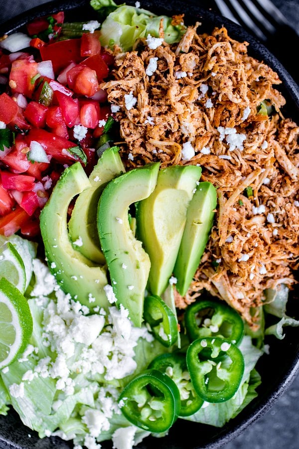 crock pot shredded chicken taco bowl