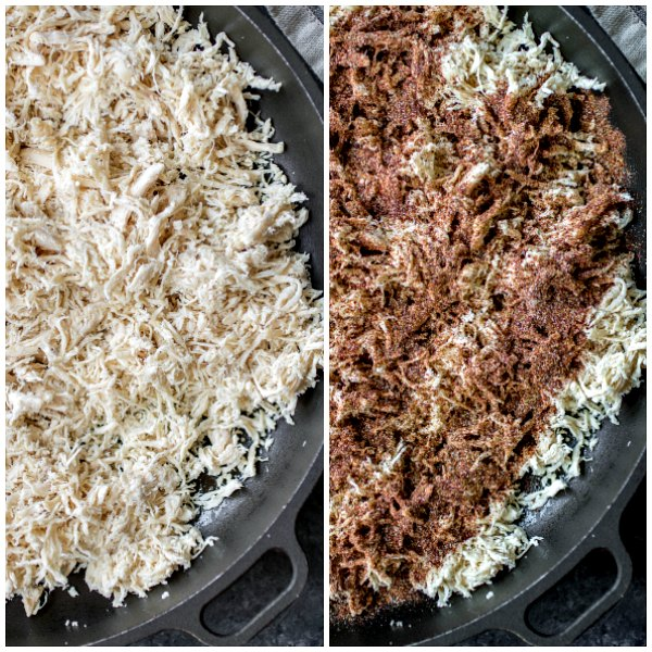 Steps for making shredded chicken taco bowl. Shredded chicken mixed with homemade taco seasoning