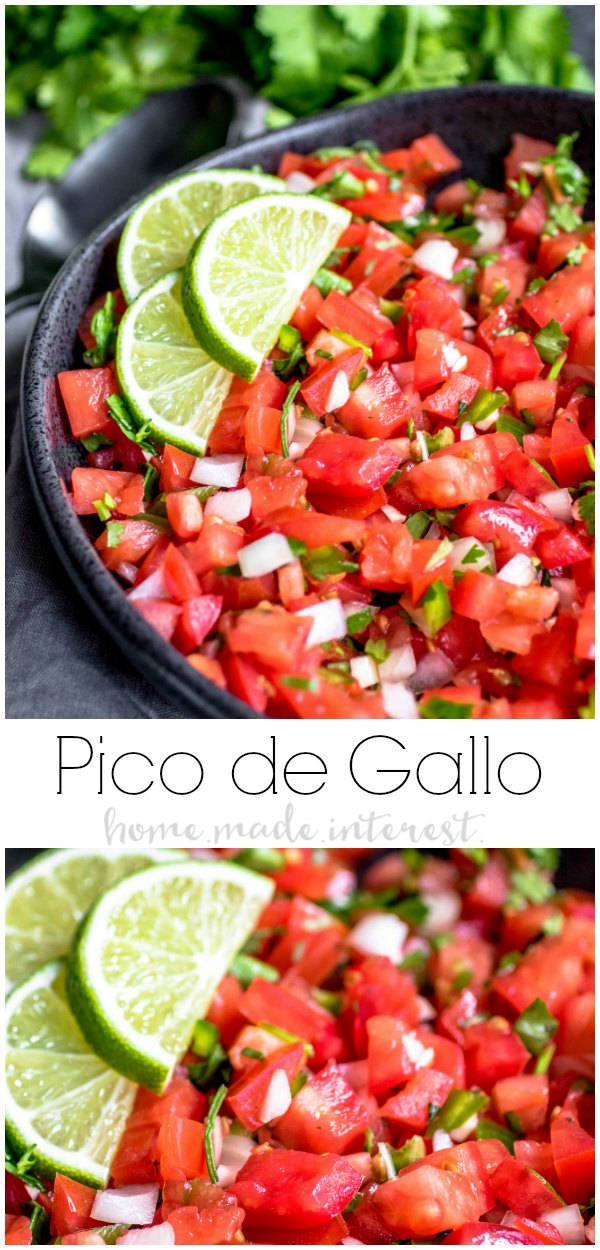 Pico de Gallo, also known as Salsa Fresca, is a fresh tomato salsa filled with sun-ripened tomatoes, crunchy onions, fragrant garlic and cilantro, and a squeeze of lime. It is a bright, fresh salsa recipe that makes a great addition to any meal. Make this to go with your Mexican dinner recipes or serve it with chips for Cinco de Mayo. This salsa recipe is perfect for summer parties! #salsa #mexicanfood #tomatoes #cilantro #homemadeinterest