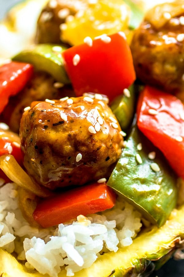 Pineapple Teriyaki Meatball over rice