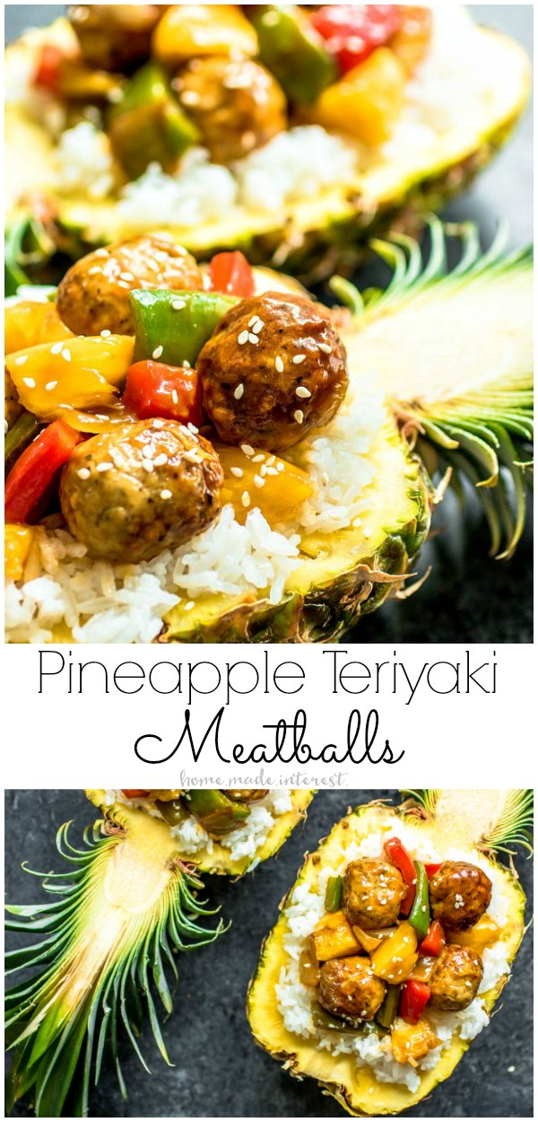 Pineapple Teriyaki Meatballs | This teriyaki meatball recipe is an easy weeknight dinner made with fresh meatballs, sweet teriyaki sauce, and mixed peppers, onions, and pineapple, served over rice.  You can make Pineapple Teriyaki Meatballs as a dinner recipe or you can serve them as an appetizer. We even show you how to make a pineapple bowl to turn your dinner into something special. AD #pineapple #teriyaki #meatballs #dinner