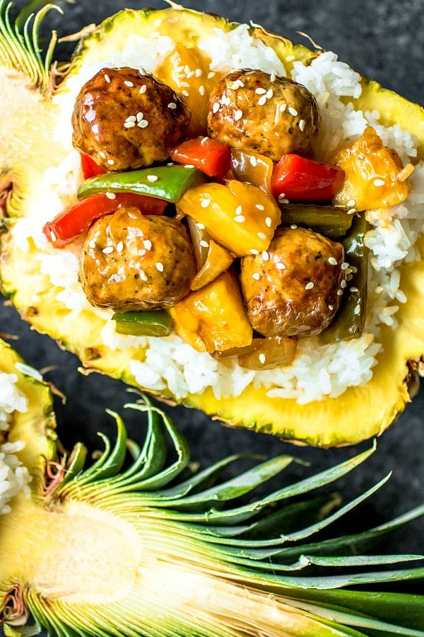 Pineapple Teriyaki Meatballs in a pineapple bowl