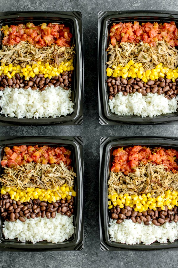 how to prepare meal prep pork carnita bowls