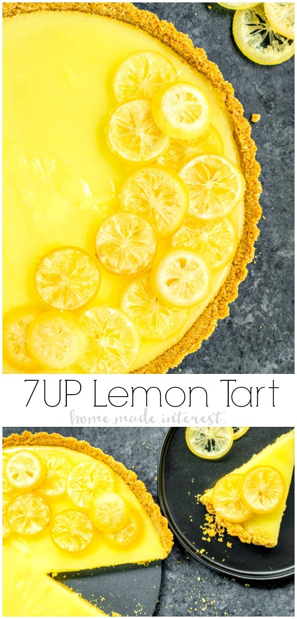 This delicious 7UP Lemon Tart is an easy summer dessert recipe with a sweet and tart 7UP lemon filling and a graham cracker crust. You can also use candied lemons for decoration. It is the perfect recipe for summer parties! AD #tart #baking #lemon #dessert #pie