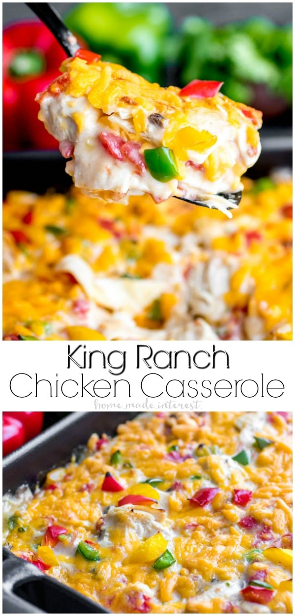 This creamy, cheesy, King Ranch Chicken Casserole is an easy dinner recipe for busy weeknights. Layers of flour tortillas, chicken, and a creamy sauce make King Ranch Chicken an easy casserole recipe that the whole family will enjoy. If you've been looking for a chicken casserole recipe King Ranch Chicken Casserole is based on the original King Ranch Chicken recipe and it is the best casserole you'll ever make! #casserole #chicken #dinner #easyrecipes #texmex