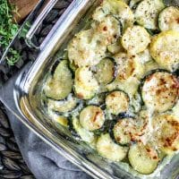 Cheesy Baked Zucchini Casserole with baked Parmesan on top