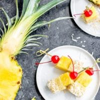 Pina Colada Cake Bites rolled in toasted coconut