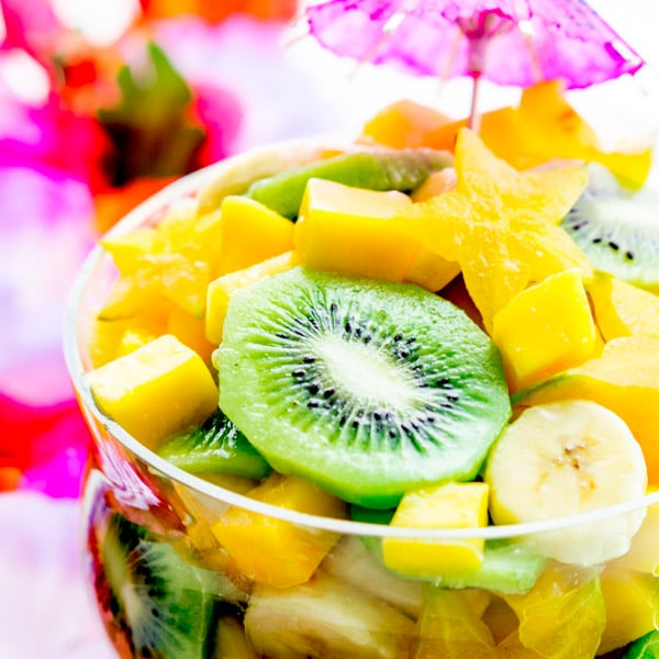 kiwi slice in Pina Colada Tropical Fruit Salad