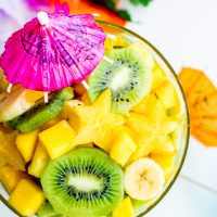 Pina Colada Tropical Fruit Salad with kiwi