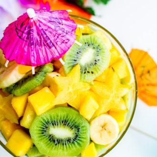 Pina Colada Tropical Fruit Salad with kiwi
