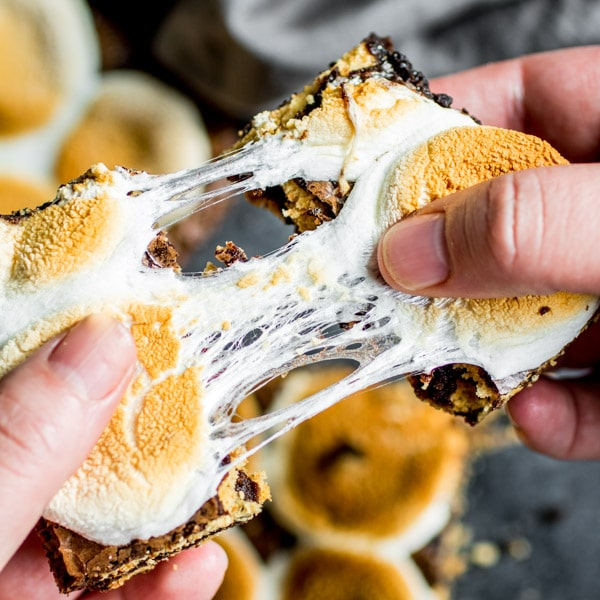 toasted gooey marshmallow on top of s'more brownies