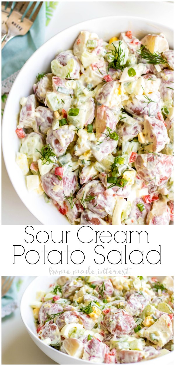 Creamy, crunchy, Sour Cream Potato Salad will add a little flavor to all of your summer potlucks! This easy red potato salad is the perfect side dish for picnics and BBQs.