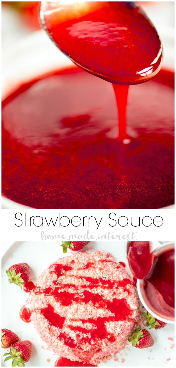 This homemade Strawberry Sauce is light, bright, and bursting with strawberry flavor. This is a strawberry sauce for ice cream, cheesecake, waffles, angel food cake, anything you like! Serve this easy strawberry topping along with an ice cream cake from the grocery store at your next party! AD #strawberry #icecream #dessert #homemadeinterest