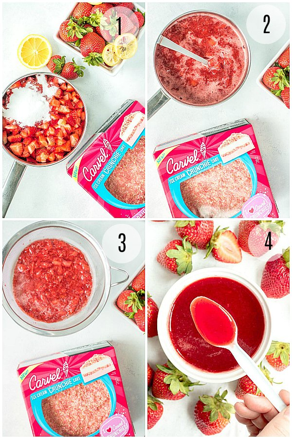 Step-by-step pics of how to make strawberry sauce