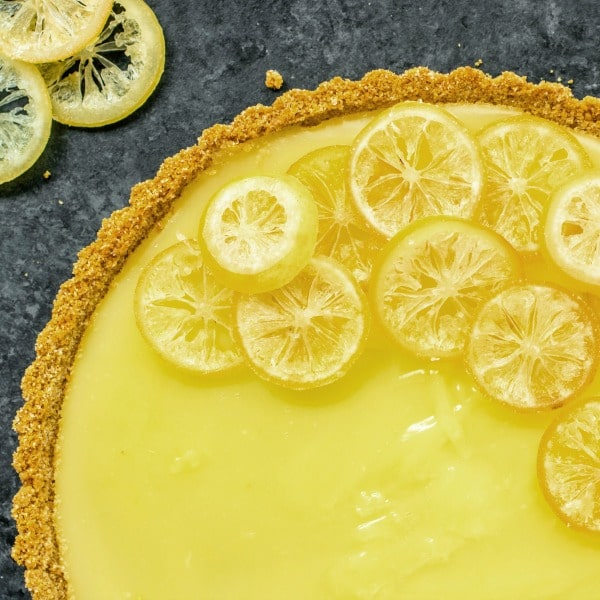 7UP Lemon Tart garnished with candied lemon slices