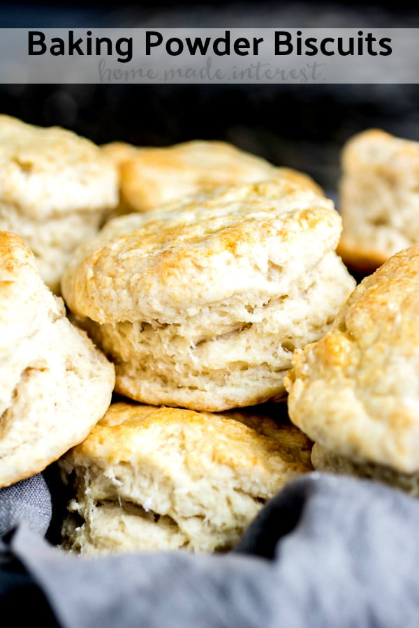Baking Powder Biscuits are light, fluffy, and perfectly flakey. Make biscuits at home with this easy recipe! This is the BEST biscuit recipe and you can make it into drop biscuits or cut biscuits. Either way it is an amazing old fashioned biscuit recipe that is perfect for breakfast...or add a little sugar and make strawberry shortcake! #biscuits #bread #breakfast #baking #homemadeinterest