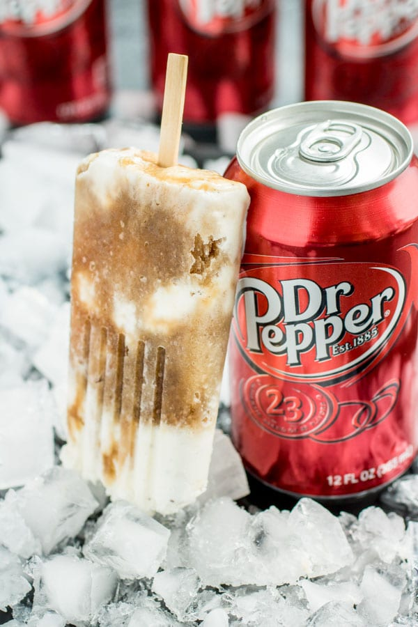 Dr. Pepper Popsicles and can of Dr. Pepper