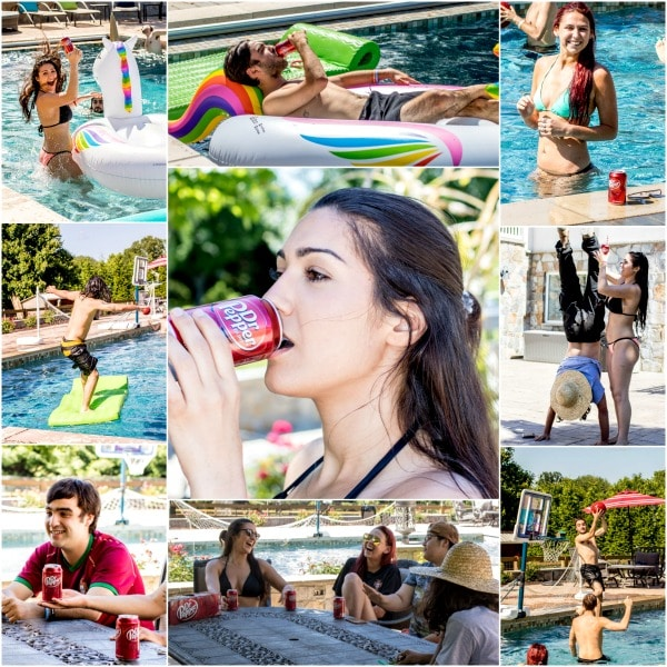 pool party enjoying Dr. Pepper Popsicles