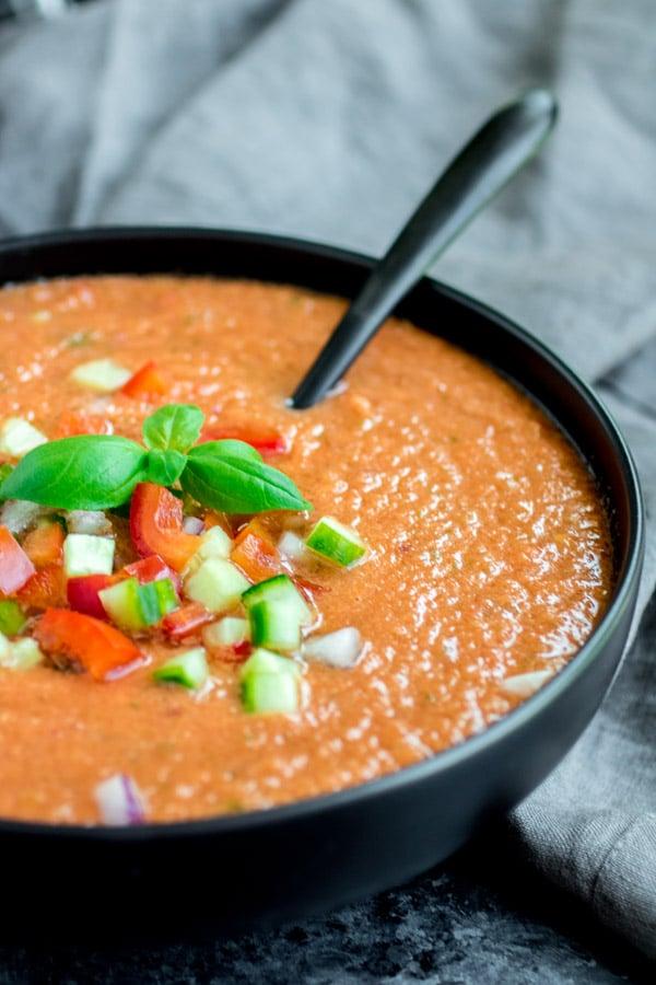 bowl of homemade Gazpacho Soup