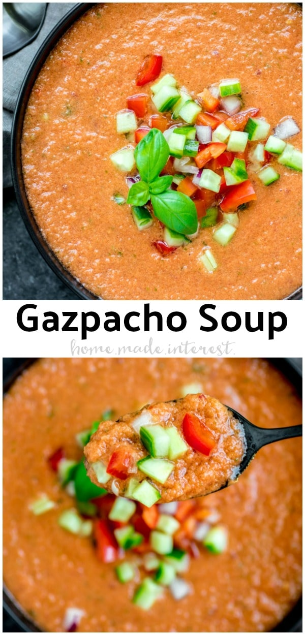 Gazpacho Soup is a cold soup that is easy to make. Tomatoes and other fresh veggies come together in this healthy Spanish recipe. Throw all of the ingredients in a blender and you have an amazing cold soup that is a little spicy and perfect for summer. Serve gazpacho with shrimp, or serve it as a shooter as a summer appetizer. You'll love this easy summer soup recipe! #spanish #tomato #soup #summer #healthy #homemadeinterest