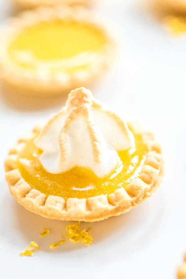 bite size Lemon Curd Tartlets with meringue