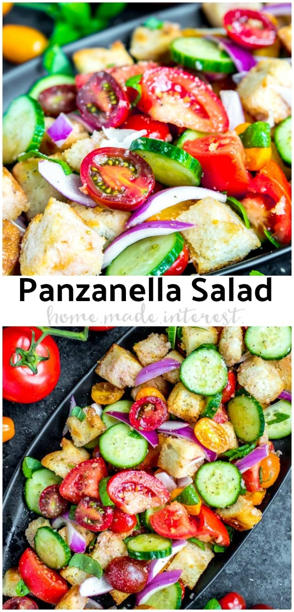 This easy Panzanella Salad is a traditional Italian Bread Salad that is tossed in an oil and vinegar dressing. Panzanella is a Tuscan summer salad that makes an amazing summer meal. Make this as a simple salad for lunch, dinner, or your next party! #salad #dinner #italian #tomato #homemadeinterest