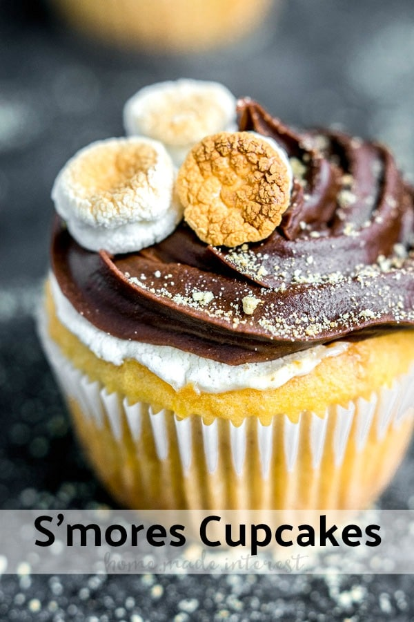 This easy S'mores Cupcake recipe is made with a cake mix from a box and baked in the oven. It is a marshmallow filled graham cracker cupcake (made with graham crackers!) topped with chocolate frosting. It is the BEST homemade s'mores cupcake you'll ever make! AD #cupcake #smores #dessert #summerdessert #kids #chocolate #marshmallow #homemadeinterest