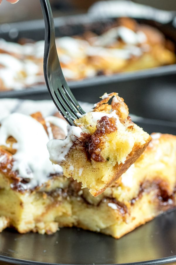 black fork with Cinnamon Roll French Toast Casserole