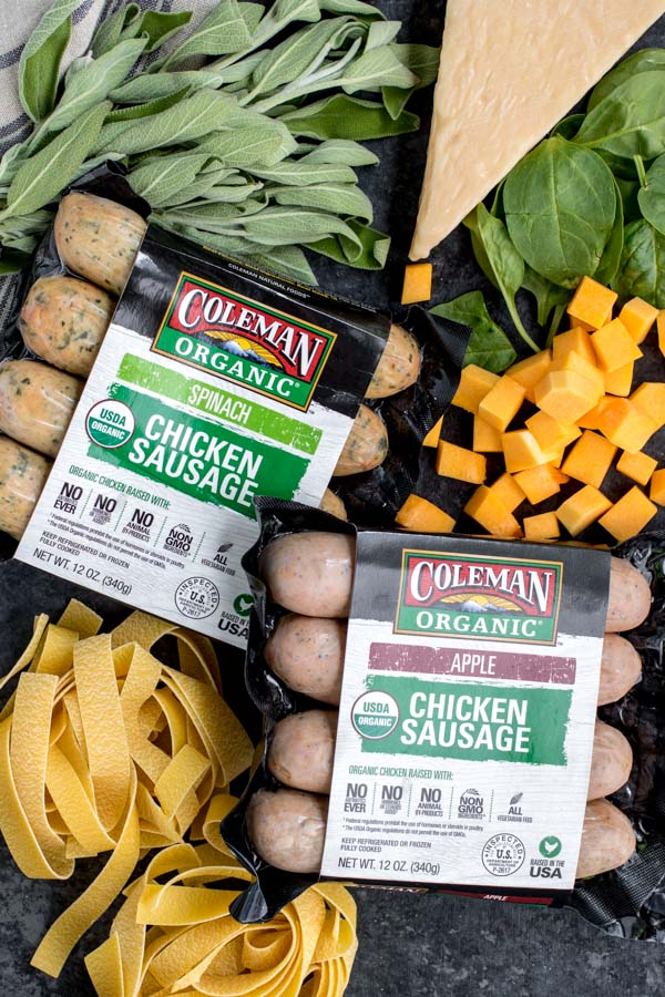 Ingredients for Creamy Sausage Pasta with butternut squash