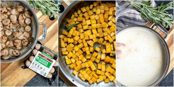 Steps for making Creamy Sausage Pasta with Butternut Squash